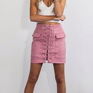 Persuasion Suede Lace Up Mini Skirt